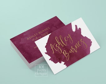 Watercolor business card template gold printable business card design gold and purple business cards custom business card gold foil makeup