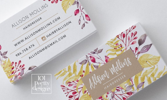 Floral Business Card Design Flowers Business Card Template Printable - Business card template paper