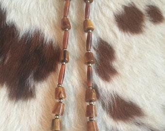 Vintage geometric chocolate caramel&gold tone beads Bakelite necklace