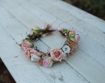 wedding flower crown, flower head wreath, floral head wreath, headband, fairy wreath, flower wreath, flower hair crown, wedding flowers
