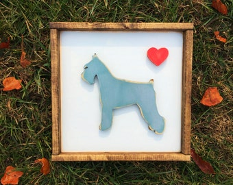 Personalized Schnauzer Dog Hand Painted 12 X 12 and Framed 3D Animal Art -- You Pick the Animal, Color, Breed