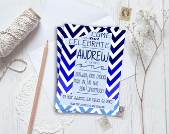 Chevron first birthday invitation-- boy printable or printed // birthday invitation // chevron invitation // personalized birthday