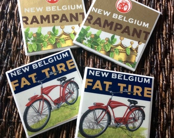 New Belgium Fat Tire and Rampant Beer Coasters