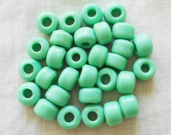 25 9mm Opaque Mint Green glass pony roller beads, large hole, big hole crow beads, Made in India, C1501