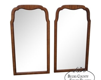 Pair of Walnut Frame Arch Top Wall Mirrors (D)