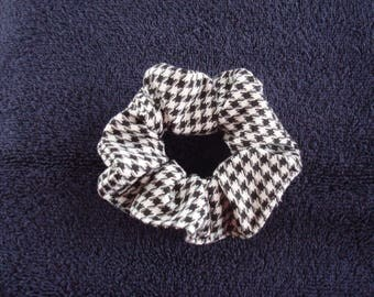 Black And White Ponytail Holder / Scrunchie , Houndstooth Check, Glen Plaid , Fashion Accessory , Gifts For Her