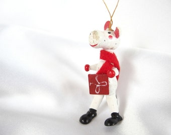 Vintage Christmas Ornament, Black and White Wood Cow Ornament