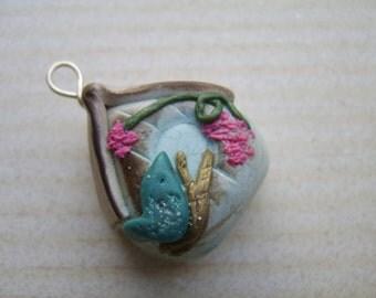 Birdhouse Bead. Focal Bead. Focal Pendant. Art Bead. Polymer Clay Bead. Chunky Rustic Birdhouse Bead. Birdhouse Pendant. Artisan Focal Bead.