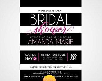 Bridal Shower Invitation- Black & White Striped Modern Invite- Pink/Yellow/Teal - 5x7 / Bridal Shower Invite **PRINTABLE