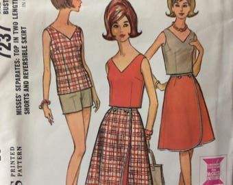 McCall's 7237 misses top, shorts & reversible wrap skirt size 12 bust 32 waist 25 vintage 1960's sewing pattern  Uncut  Factory folds