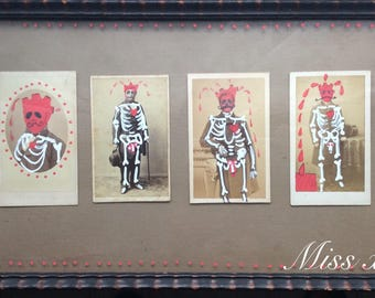 Photograph old vintages (cards) customized dias los muertos skeletons