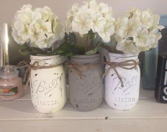 Mason Jar Decor. Farmhouse inspired. Wedding centerpiece, room decor. Rustic chic.