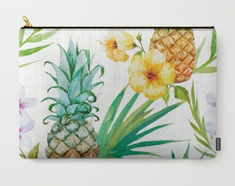 Pineapple Clutch Pineapples Makeup Bag Palm Leaf Floral Pouch beach Travel kit Girls gift travel bags Pineapple gifts Pineapple print pouch