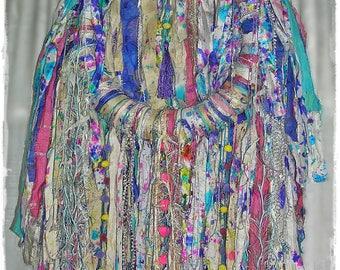 BOHEMIAN PARTY Silk Rag Wreath - Splash Painted Sari Silk, Gypsy Art Yarn, Boho Cloth Wall Decor, Large Tattered Shabby Chic Hippie Wreath