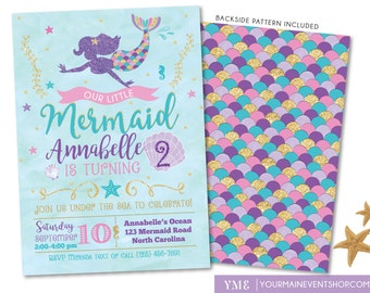 Mermaid Invitation • Mermaid Birthday Invite • Under The Sea Party • Teal Purple Pink Gold • Summer Pool Beach Party Invitation Printable