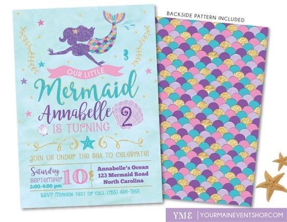 Mermaid Invitation • Mermaid Birthday Invite • Under The Sea Party • Teal Purple Pink Gold • Summer Pool Beach Party Invitation Printable