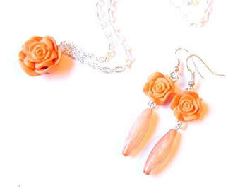 Orange Rose Earrings and Necklace (  long earrings orange earrings rose earrings polymer clay rose flower earrings)