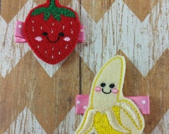 Strawberry Banana hair clips, fruit hair clips, strawberry hair clip, banana hair clip, toddler hair clips, pigtail hair bows, clippies