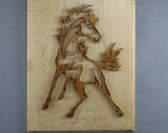 Wild Mustang horse art 2 layer wood scroll saw horse wall hanging plaque