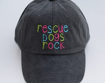 Rescue Dogs Rock Gray Baseball Cap || Embroidered Dog Lover Paw Prints  || Dog Mom Monogram Gift by Three Spoiled Dogs Made in USA