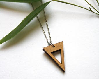 Triangle pendant, wooden necklace, geometric design, long silver color chain, modern jewel, natural wood, minimal style, made in France
