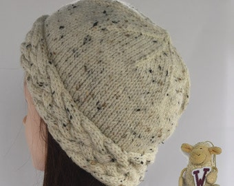 Lady's knitted hat - close-fitting with a cable turnup  -  natural colour with brown flecks (version 2)