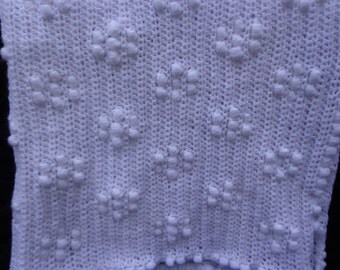 White crochet babies blanket bobble flower pattern made to order crochet baby comforter
