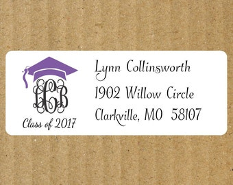 Interlocking Monogram Graduation Address Labels, 90 Labels, Graduation Return Address Labels, Interlocking Monogram, Graduation