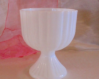 Vintage Milk Glass Pedestal Vase