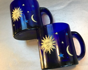 Two Libbey Glass Cobalt Blue Celestial Moon Sun Stars Sapphire Vintage Coffee Cup Mug
