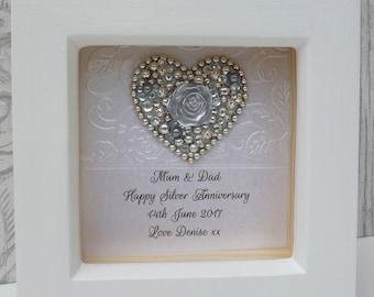25th anniversary gift, 25th wedding anniversary gift,25th Silver, silver wedding anniversary,personalised framed gift,handmade