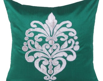 Designer Throw Pillow Cover Emerald Green Damask Pillow Cover Green Decorative Pillow 12x12 14x14 16x16 18x18 20x20 22x22