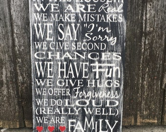 Family Rules Subway Art, In this house family wood sign, Rustic Family Sign, In This House family wood Sign, Wood Home Decor,