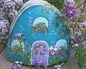 Painted Fairy Garden Cottage, Miniature Rock House, Stone Gnome Home, Teal Painted Rock, Flowers