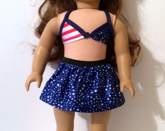 18 Inch Doll Clothes , 4-Piece  Red White and Blue Outfit With Stars and Stripes Canvas Shoes  Fits American Girl doll clothes