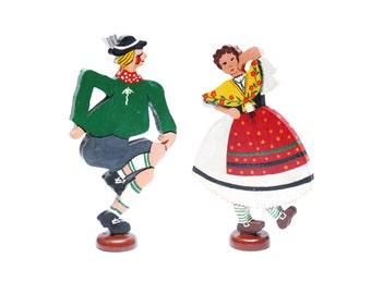 Vintage dancing folk couple wood figurines, colorful souvenir gift decor, hand painted Oktoberfest cottage home decoration, 1950s Austria