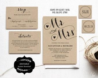 Wedding Invitation Template, Printable Wedding Invitation, Kraft Wedding Invitation, DIY Wedding, Editable Text, Mr Mrs VW04
