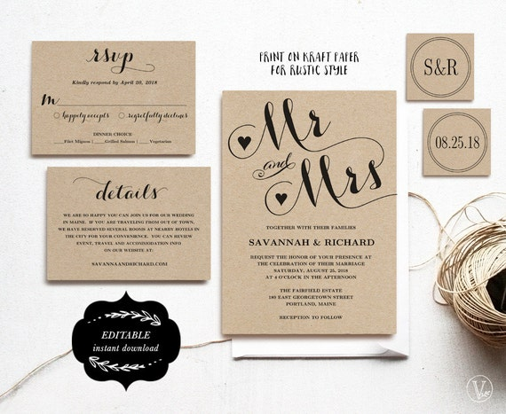 Free Rustic Wedding Invitation Templates: Wedding Invitation Template Printable Wedding Invitation