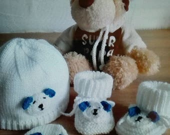 Bonnet booties and mittens 0-3 months