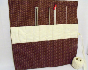 knitting needle roll, knitting needle holder, knitting organizer, needle storage, brown cotton fabric