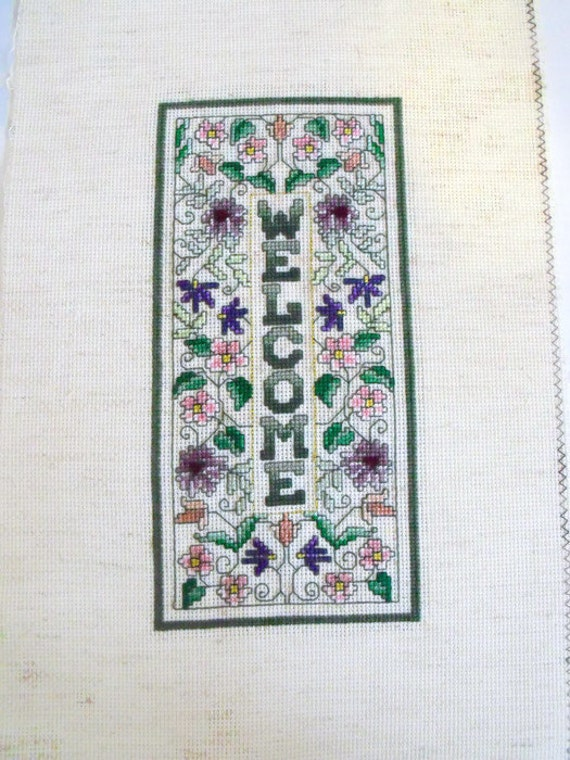 welcome cross stitch picture, house warming counted cross stitch to frame, welcome sign, embroidered picture