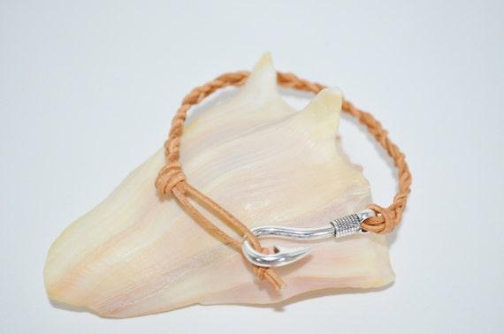 Ankle Bracelet or Bracelet Leather Fish Hook, Leather Anklet with Fish Hook Closure, Leather Bracelet, Fish Hook Anklet, Fish hook Bracelet