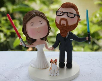 Jedi couple holding hands. Bald groom. Pet cat. Star Wars Themed Wedding. Handmade. Fully customizable. Unique keepsake