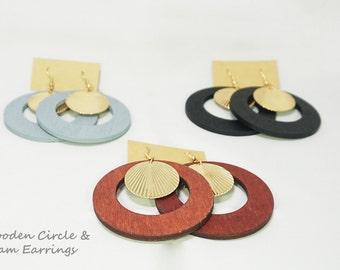 Wooden Hoop Circle & Shell Wood Earrings