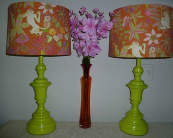 LIME GREEN LAMPS with Fabric Shades