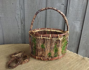 Bark basket/ woodland basket/ moss basket/ bark and moss basket/ rustic basket/ flower girl basket/ rustic wedding/ woodland wedding/ basket
