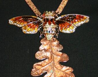 collier sautoir baroque - FEUILLE DE CHÊNE cuivrée
