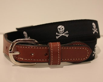 Pirate Jolly Roger  Belt-  Web Leather Belt