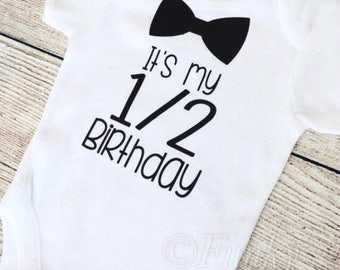 Half Birthday - 6 Month Baby Boy Outfit - Black Bodysuit - Photoshoot, Photo Prop Baby Shower Gift Onesie T Shirt Boys