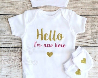 Hello World Newborn Outfit - Dark Pink Gold Glitter Bodysuit, Hat & Scratch Mitts Hat - Going Home, Photoshoot, Photo Prop, Baby Shower Gift